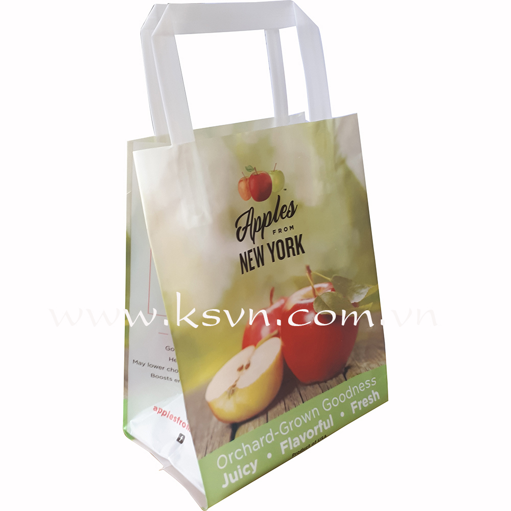 Printied virgin trifold handle packaging plastic bag