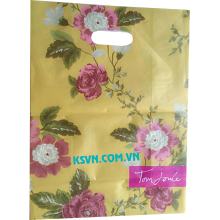 Die cut handle plastic bag with bottom card board