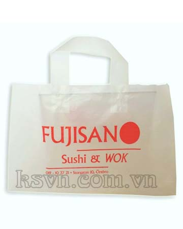 Hdpe frosted plastic shopper bag with handle white