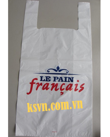 LDPE white t-shirt plastic bags printing two color/two side