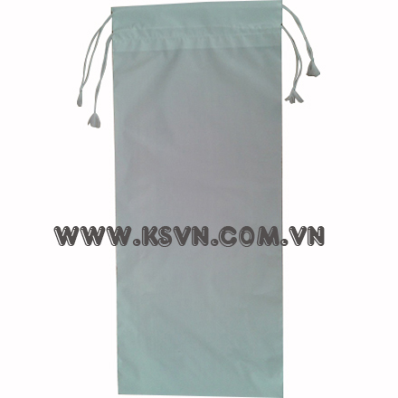 LDPE white plastic drawstring bag with two heat line