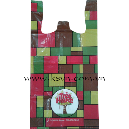 LDPE virgin vest carrier bag print 1 color + CMYK on 4 side