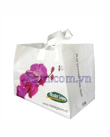 Color process printing plastic soft loop handle bag with bottom gusset