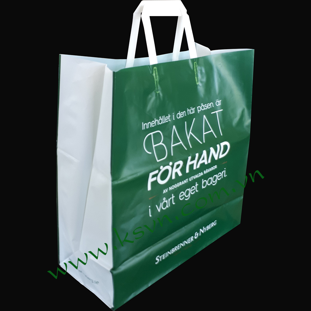Hot selling trifold handle hdpe virgin plastic shopping bag