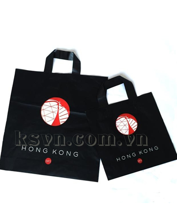 Best price free duty black shopping plastic bag with soft loop handle