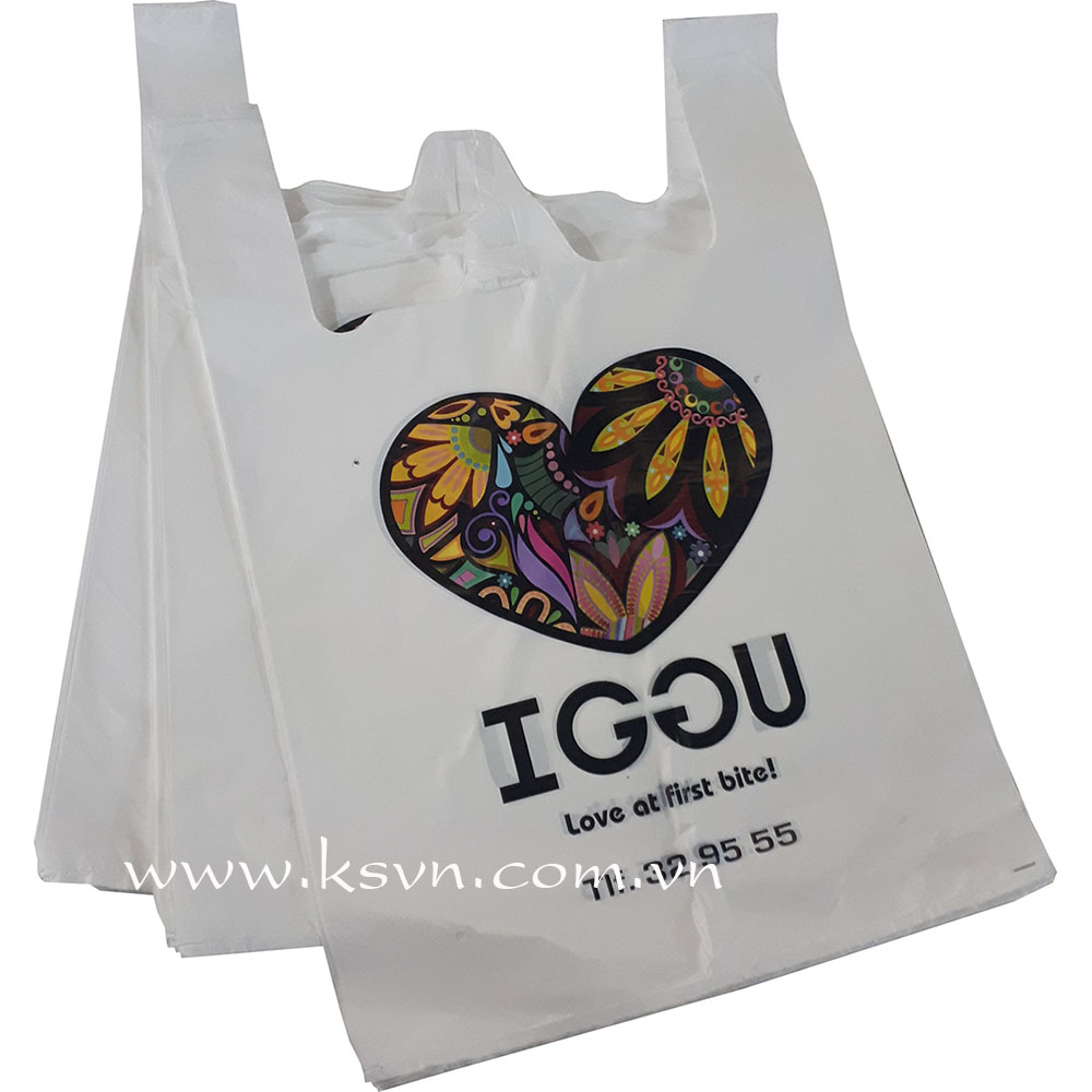 PE white t shirt plastic bag for shopping with cheap price and high quality