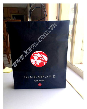 Duty free Singapore black matt printed LDPE rigid handle shopping bag