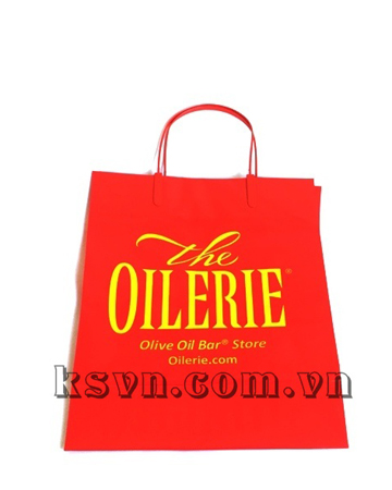 Red clip handle plastic carrier bag