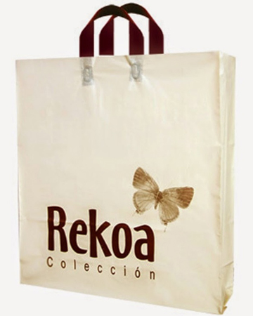 Reinforced soft loop handle carrier plastic bag with logo