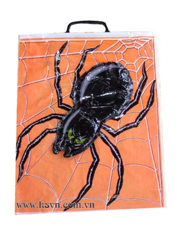 Spider shape rigid snap handle plastic bag